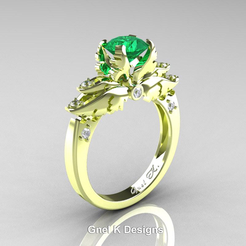 classic angel 18k green gold 1 0 ct emerald diamond. Black Bedroom Furniture Sets. Home Design Ideas