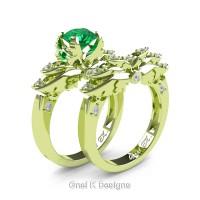 Classic Angel 18K Green Gold 1.0 Ct Emerald Diamond Angel Engagement Ring Wedding Band Set R482S-18KGGDEM