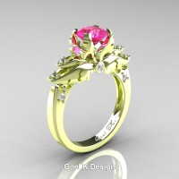 Classic Angel 18K Green Gold 1.0 Ct Pink Sapphire Diamond Solitaire Engagement Ring R482-18KGGDPS