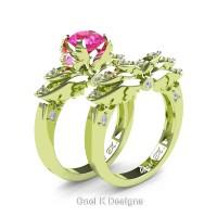 Classic Angel 18K Green Gold 1.0 Ct Pink Sapphire Diamond Angel Engagement Ring Wedding Band Set R482S-18KGGDPS