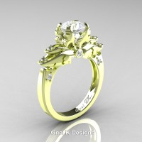 Classic Angel 18K Green Gold 1.0 Ct White Sapphire Diamond Solitaire Engagement Ring R482-18KGGDWS