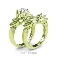 Classic Angel 18K Green Gold 1.0 Ct White Sapphire Diamond Angel Engagement Ring Wedding Band Set R482S-18KGGDWS
