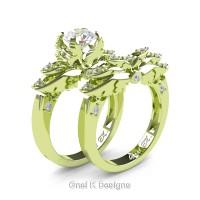 Classic Angel 18K Green Gold 1.0 Ct White Sapphire Diamond Angel Engagement Ring Wedding Band Set R482S-18KGGDWS