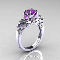 Classic Victorian 950 Platinum 1.0 Ct Amethyst Diamond Angel Solitaire Engagement Ring R482-PLATDAM