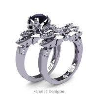 Classic Victorian 950 Platinum 1.0 Ct Black and White Diamond Angel Engagement Ring Wedding Band Set R482S-PLATDBD