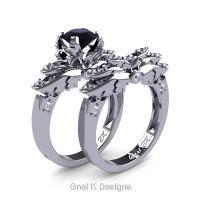 Classic Victorian 950 Platinum 1.0 Ct Black and White Diamond Angel Engagement Ring Wedding Band Set R482S-PLATDBD