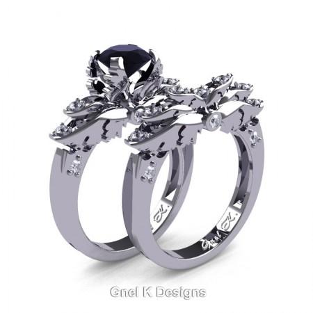 Classic-Angel-950-Platinum-1-Ct-Black-White-Diamond-Solitaire-Engagement-Ring-Wedding-Band-Set-R482S-PLATDBD-P2