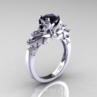 Classic Victorian 950 Platinum 1.0 Ct Black and White Diamond Angel Solitaire Engagement Ring R482-PLATDBD