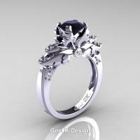 Classic Victorian 950 Platinum 1.0 Ct Black and White Diamond Angel Solitaire Engagement Ring R482-PLATDBD