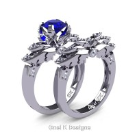 Classic Victorian 950 Platinum 1.0 Ct Blue Sapphire Diamond Angel Engagement Ring Wedding Band Set R482S-PLATDBS