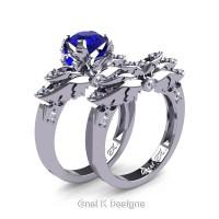 Classic Victorian 950 Platinum 1.0 Ct Blue Sapphire Diamond Angel Engagement Ring Wedding Band Set R482S-PLATDBS