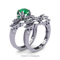 Classic Victorian 950 Platinum 1.0 Ct Emerald Diamond Angel Engagement Ring Wedding Band Set R482S-PLATDEM
