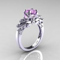 Classic Victorian 950 Platinum 1.0 Ct Lilac Amethyst Diamond Angel Solitaire Engagement Ring R482-PLATDLAM