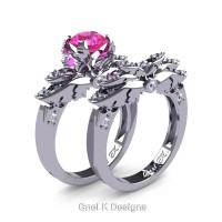 Classic Victorian 950 Platinum 1.0 Ct Pink Sapphire Diamond Angel Engagement Ring Wedding Band Set R482S-PLATDPS