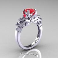 Classic Victorian 950 Platinum 1.0 Ct Ruby Diamond Angel Solitaire Engagement Ring R482-PLATDR