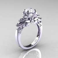 Classic Victorian 950 Platinum 1.0 Ct White Sapphire Diamond Angel Solitaire Engagement Ring R482-PLATDWS