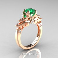 Classic Angel 14K Rose Gold 1.0 Ct Emerald Diamond Solitaire Engagement Ring R482-14KRGDEM