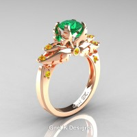 Classic Angel 14K Rose Gold 1.0 Ct Emerald Yellow Sapphire Solitaire Engagement Ring R482-14KRGYSEM