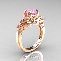 Classic Angel 14K Rose Gold 1.0 Ct Light Pink Sapphire Diamond Solitaire Engagement Ring R482-14KRGDLPS