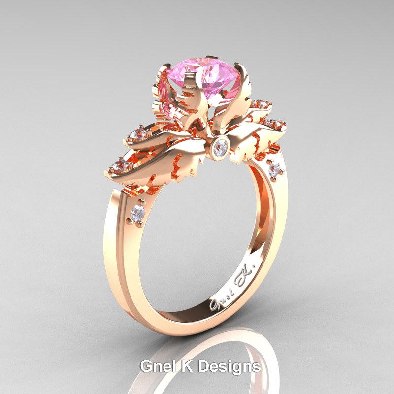 Classic Angel 14k Rose Gold 1 0 Ct Light Pink Sapphire