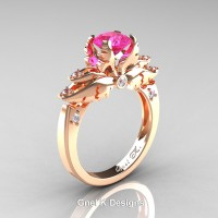 Classic Angel 14K Rose Gold 1.0 Ct Pink Sapphire Diamond Solitaire Engagement Ring R482-14KRGDPS