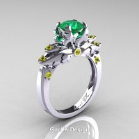 Classic Angel 14K White Gold 1.0 Ct Emerald Yellow Sapphire Solitaire Engagement Ring R482-14KWGYSEM