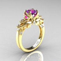 Classic Angel 14K Yellow Gold 1.0 Ct Amethyst Diamond Solitaire Engagement Ring R482-14KYGDAM