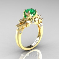 Classic Angel 14K Yellow Gold 1.0 Ct Emerald Diamond Solitaire Engagement Ring R482-14KYGDEM