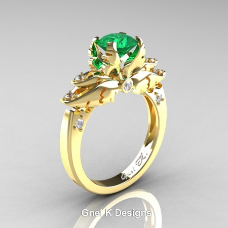 Classic-Angel-Yellow-Gold-1-Ct-Emerald-White-Diamond-Solitaire-Engagement-RIng-R482-YGDEM-P