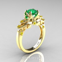Classic Angel 14K Yellow Gold 1.0 Ct Emerald Yellow Sapphire Solitaire Engagement Ring R482-14KYGYSEM