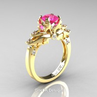 Classic Angel 14K Yellow Gold 1.0 Ct Pink Sapphire Diamond Solitaire Engagement Ring R482-14KYGDPS