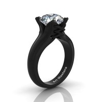 Forever Classic 14K Black Gold 3.0 Ct White Sapphire Solitaire Corset Ring R456-14KBGWS