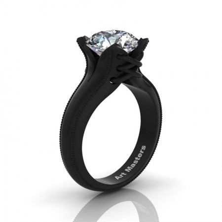 Forever-Classic-14K-Black-Gold-3-0-Ct-White-Sapphire-Solitaire-Corset-Ring-R456-14KBGWS