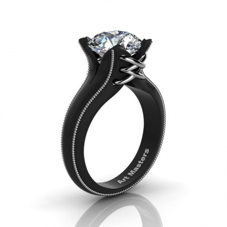 Forever-Classic-14K-Black-Gold-3-0-Ct-White-Sapphire-Solitaire-Corset-Ring-R456-14KBWGWS