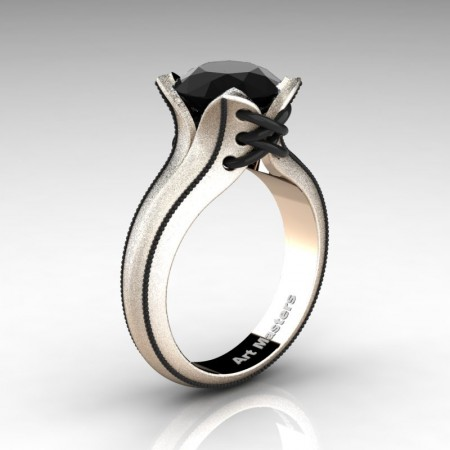 Forever-Classic-14K-Rose-Gold-3-0-Ct-Black-Diamond-Solitaire-Corset-Ring-R456-14KRBGBD