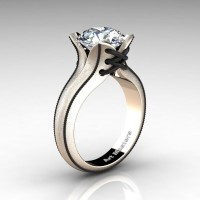 Forever Classic 14K Rose Gold 3.0 Ct White Sapphire Solitaire Corset Ring R456-14KRBGWS