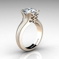 Forever Classic 14K Rose Gold 3.0 Ct White Sapphire Solitaire Corset Ring R456-14KRGWS