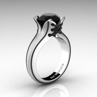 Forever Classic 14K White Gold 3.0 Ct Black Diamond Solitaire Corset Ring R456-14KWBGBD