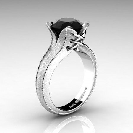 Forever-Classic-14K-White-Gold-3-0-Ct-Black-Diamond-Solitaire-Corset-Ring-R456-14KWGBD