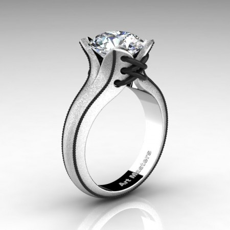 Forever-Classic-14K-White-Gold-3-0-Ct-White-Sapphire-Solitaire-Corset-Ring-R456-14KWBGWS