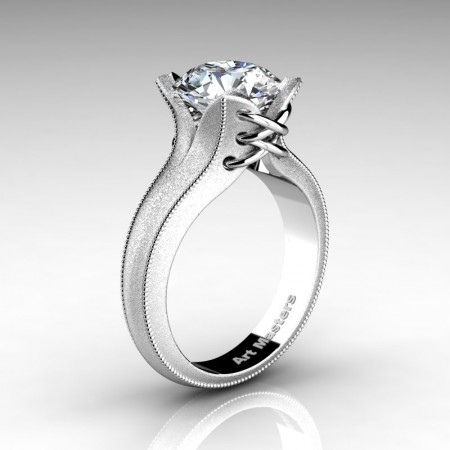 Forever-Classic-14K-White-Gold-3-0-Ct-White-Sapphire-Solitaire-Corset-Ring-R456-14KWGWS