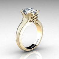 Forever Classic 14K Yellow Gold 3.0 Ct White Sapphire Solitaire Corset Ring R456-14KYGWS