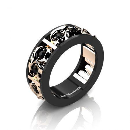 Mens-Modern-14K-Black-and-Rose-Gold-Black-Diamond-Skull-Channel-Cluster-Wedding-Ring-R453-14KBRGBD