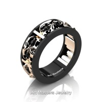 Mens Modern 14K Black and Rose Gold Black Diamond Skull Channel Cluster Wedding Ring R453-14KBRGBD