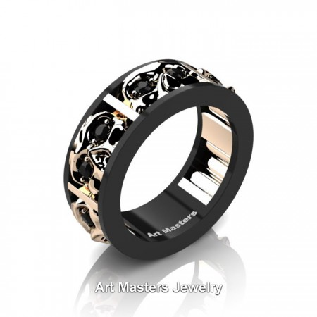 Mens-Modern-14K-Black-and-Rose-Gold-Black-Diamond-Skull-Channel-Cluster-Wedding-Ring-R453-14KBRGBD-P