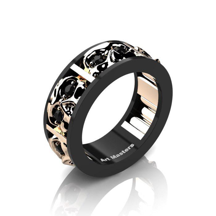 Mens Modern 14k Black And Rose Gold Black Diamond Skull Channel Cluster Wedding Ring R453 14kbrgbd Art Masters Jewelry