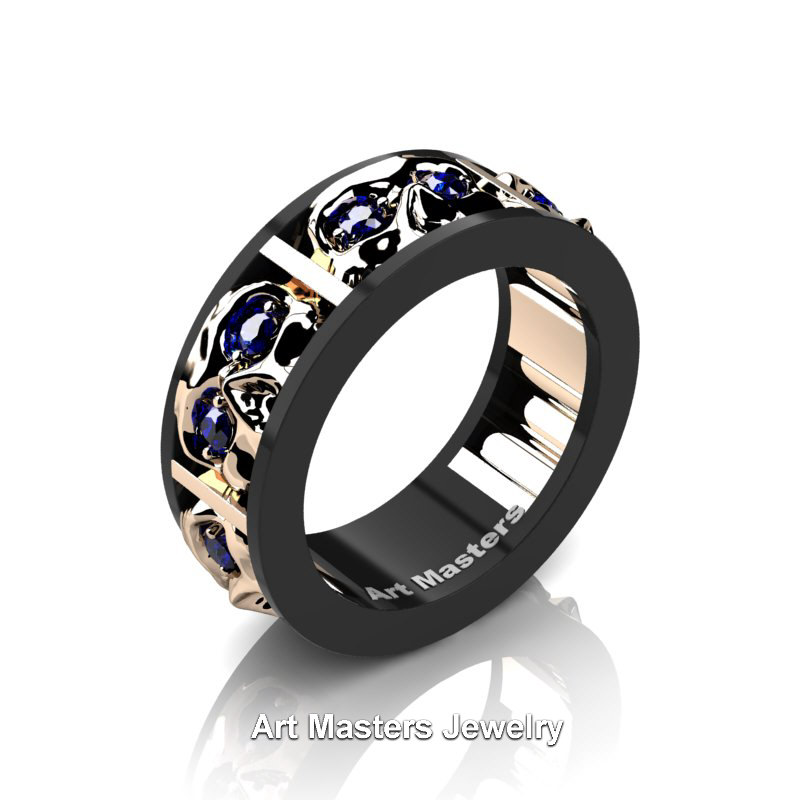 Mens Wedding Rings.Mens Modern 14k Black And Rose Gold Blue Sapphire Skull Channel Cluster Wedding Ring R453 14kbrgbs