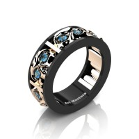 Mens Modern 14K Black and Rose Gold Blue Topaz Skull Channel Cluster Wedding Ring R453-14KBRGBT