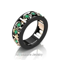 Mens Modern 14K Black and Rose Gold Emerald Skull Channel Cluster Wedding Ring R453-14KBRGEM