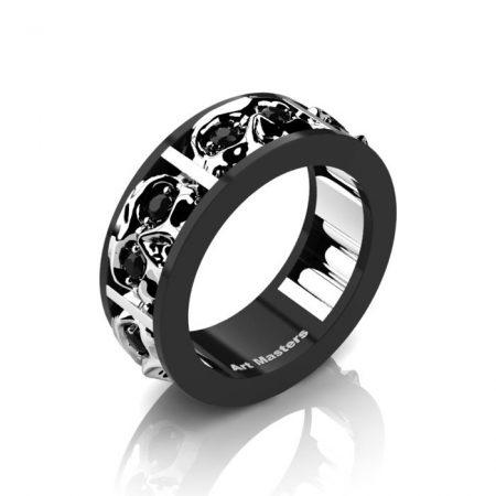 Mens-Modern-14K-Black-and-White-Gold-Black-Diamond-Skull-Channel-Cluster-Wedding-Ring-R453-14KBWGBD